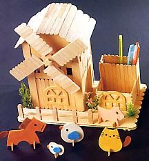 DIY Popsicle stick combination F Popsicle Stick Houses, Popsicle Stick Crafts, Craft Stick Crafts, Craft Gifts, Kids Crafts, Diy And Crafts, Diy Eis, Pop Stick, Dollhouse Accessories