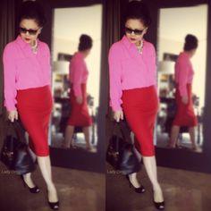 FB@Lady Omar J.Crew blouse and J.Crew skirt