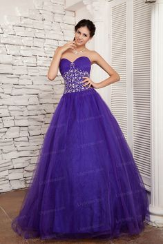 Ball Gown Sweetheart Satin Net Crystal Floor Length Quinceanera Dress