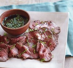 Beef Tataki - This cooked variation on classic beef carpaccio is prepared by searing the meat to rare, then flavoring it with a ginger-infused marinade. Asian Recipes, Beef Recipes, Cooking Recipes, Thai Cooking, Japanese Recipes, Japanese Food, Beef Tataki, Kobe Beef, Food Inspiration