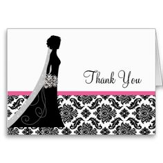 Damask Bridal Shower Thank you Notes