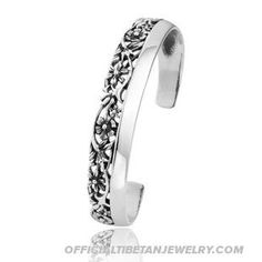 Handmade Tibetan Titanium Steel Bracelet Hollow Carved