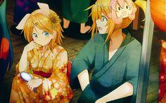 Descargar fondos de pantalla Kagamine Rin, Kagamine Len, 4k, kimono, manga, personajes de anime, Vocaloid