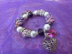 Fancy Pearl Bracelet/Charm bracelet/Stretch by PrincessInDreams