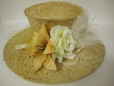Lady's Natural Straw Hat with Cream Ostrich Feathers & Ivory Lillies