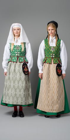Grønn Trønderbunad Hardander needlework veil again. Folk Costume, Costume Dress, Costumes, Traditional Fashion, Traditional Dresses, Norwegian Clothing, Norway Viking, Native Wears, Frozen Costume