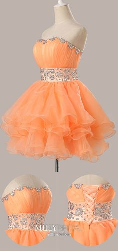 Orange Homecoming Dresses Short, Ball Gown Homecoming Dresses Sweetheart, Cute Homecoming Dresses Organza, Beaded Homecoming Dresses For Teens Modest Formal Dresses, Vintage Formal Dresses, Dresses Short, Hoco Dresses, Party Dresses, Dance Dresses, Orange Homecoming Dresses, Vintage Homecoming Dresses, Prom Dresses For Teens