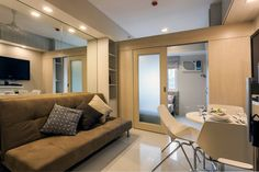 Entire home/apt in Manila, Philippines. Modern, minimalist condominium offers a contemporary atmosphere where functionality meets design. Centrally & conveniently located on top of a mall. Condo Interior Design, Small Apartment Interior, Small Apartment Design, Condo Design, Apartment Layout, Studio Interior, Small Apartments, Apartment Ideas, Studio Apartments