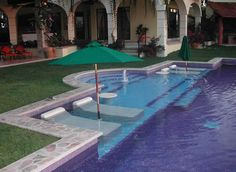 Lap Pool With Sunken Loungers