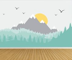 Nursery Wall Decals- Large Mountain Mural Wall Decals-Peel n Stick Wall Mural Decals-Mountain Wall Decals-Mountain, Forest Wall listing comes with mountains/trees, suns and birds. Wall Mural Decals, Kitchen Wall Decals, Nursery Wall Decals, Wall Stickers, Baby Room Design, Baby Room Decor, Mountain Mural, Bedroom Murals, Baby Boy Rooms