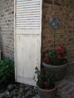 Indoor or outdoor....distressed shutters add such charm!  www.accentshutter.com Distressed Shutters, Indoor, Exterior, Outdoor Structures, Home, Interior, Ad Home, Homes, Outdoor Rooms