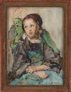 Parrot on a girl's shoulder