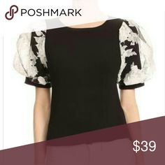 Norene in Black Floral bubble sleeve blouse Tops Blouses