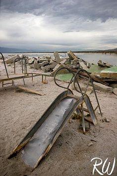 Abandoned Playground Slide at North Shore Beach and Yahct Club, Salton Sea, California Abandoned Theme Parks, Abandoned Property, Abandoned Amusement Parks, Abandoned Mansions, Abandoned Buildings, Abandoned Places, North Shore Beaches, Salton Sea, Detroit