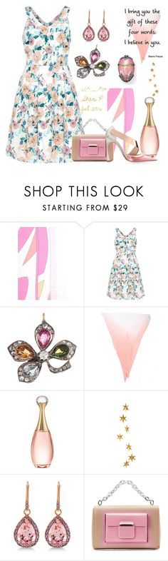 """""""Isadora Bloom Dress - pink accents"""" by sheric62 ❤ liked on Polyvore featuring Emilio Pucci, Sugarhill Boutique, HUGO, Christian Dior, Livingly, Allurez, Fabergé and Balenciaga"""