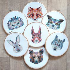 Geometric animals cross stitch patterns