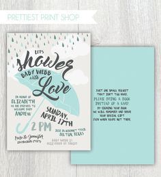 Printable baby shower invitation  Showered by PrettiestPrintShop