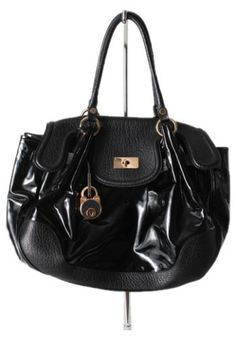 """Details:   Material: Exterior is leather & patent leather with gold hardware  Closure: turn-lock  Lock charm   Measurements: Length: 20"""" Height: 12.5"""" Strap drop: 8""""  Interior contains one zippered pocket  Made in Italy   Condition:   Gently pre-owned, minimal scratches on the gold hardware. Interior and exterior are impeccably clean.   Retail: $1,090"""