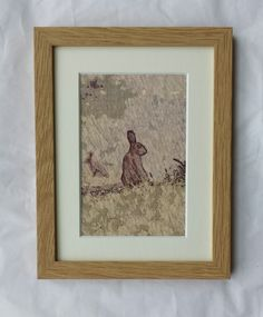 "Hare From Afar Original Ink On Canvas Artwork Unique -  8"" x 6"" Framed In Oak"