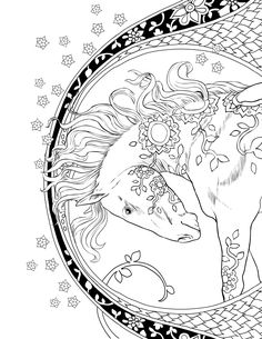 "This adult coloring page is from ""Magical Kingdom"". This book if filled with unicorns, pegasus, griffons, other winged animals as well as real animals. Every page is such a delight. This book is really excellent quality artwork. Not one single boring page."