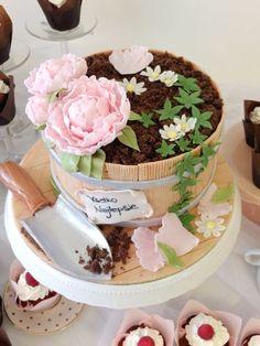 Flower pot cake Más