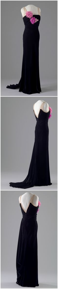 Evening dress, by Blancquaert (attributed), London, United Kingdom, 1935-38. Probably belonged to Queen Maud of Norway, as the sizing and silhouette are very similar to that of her evening gowns from the same period. The National Museum of Art, Architecture and Design, Oslo, via DigitaltMuseum (link: http://digitaltmuseum.no/011061626322?query=kjole&page=70&pos=1674&count=9767).