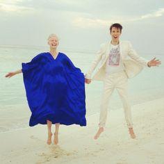Pre-Dinner-Magic-Hour-Jump with Tilda #tildaswinton #maldives #ryanmcginley #philippehalsmanjump