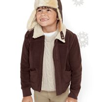 Aviator Coat - This cool unisex coat never goes out of style. With detachable sleeves to turn the coat into a vest. Polyester fleece, faux-sherpa trim. Machine wash and dry.