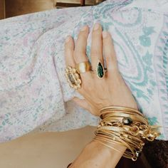 Liseanne Frankfurt piles her bangles high. Gold Jewelry, Jewelry Box, Fine Jewelry, Gold Bracelets, Family Jewels, Blue Shoes, Jewelry Design, Designer Jewellery, Bling