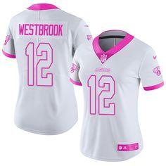Women s Nike Jacksonville Jaguars  12 Dede Westbrook Limited White Pink Rush  Fashion NFL Jersey 5f4cd3e0b
