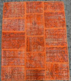 Patchwork Rug handmade from Over-dyed Distressed Vintage Turkish Carpets : Orange Colors, 4x5 ft $360