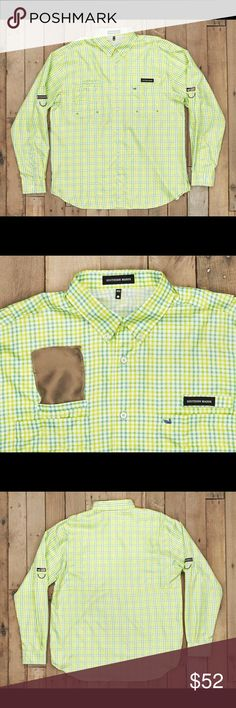 Southern Marsh Fishing Shirt - Sage/Lime The Harbor Cay Fishing Shirt is made from the highest grade moisture wicking performance fabric that protects you from the sun, wicks moisture, and has specially cut vents to keep you cool and dry while you're out on the water. If it get's warm, roll up your sleeves and use our nylon loops to keep them taut. the attached sunglass cleaner sits comfortably above the right front pocket to clean MAKE AN OFFER #poshman Southern Marsh Shirts Casual Button…