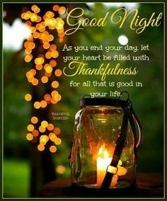 Let your heart be filled with Thankfulness for all that is good in your life life good night quotes good night blessings being thankful quotes Good Night Thoughts, Good Night Friends, Good Night Wishes, Good Night Sweet Dreams, Good Night Image, Good Morning Good Night, Sunday Wishes, Evening Greetings, Good Night Greetings