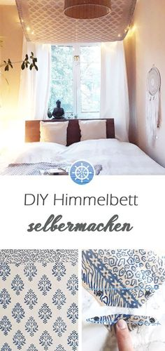 Make yourself a four-poster bed in no time! How to turn your bedroom into . - Make yourself a four-poster bed in no time! How to turn your bedroom into . Diy Interior, Four Poster Bed, Roomspiration, Cozy Bed, Home And Living, Valance Curtains, Diy Furniture, Kids Room, Lounge