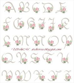 alphabet - rose - point de croix - cross stitch - Blog : http://broderiemimie44.canalblog.com/