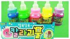 learn Colors Slime Monster Toys with Pororo 액체괴물 장난감