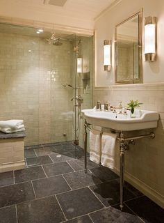 Transitional Bathroom Design Ideas, Pictures, Remodel and Decor Bathroom Sconces, Bathroom Renos, Bathroom Flooring, Small Bathroom, Master Bathroom, Bathrooms, Bathroom Ideas, Bath Ideas, Bathroom Lighting