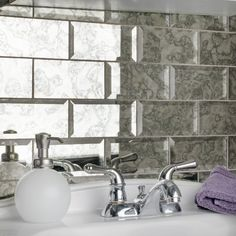 Complement your home's beauty by adding this Merola Tile Lustre Beveled Antique Mirror Glass Wall Tile. Shower Backsplash, Mirror Backsplash, Mirror Wall Tiles, Mirror Splashback, Kitchen Backsplash, Ceramic Subway Tile, Glass Mosaic Tiles, Antique Mirror Tiles, Antique Glass