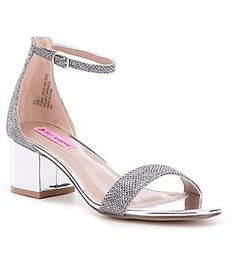 Betsey Johnson Ice Foil Banded Ankle Strap Block Heel Dress Sandals