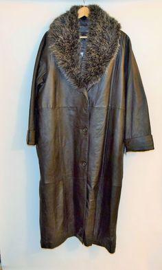 NWT Terry Lewis Women's Black Genuine Leather Warm Zipper Lining Long Coat Sz 1X #TerryLewis #BasicCoat