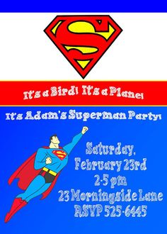 Superman Birthday Invitation by CountryRoadCloset on Etsy, $10.00