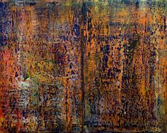 Richter usually works with the squeegee, a tool that is used to wipe off excess paint. In dragging it over the still wet paint he creates coincidental combinations until he decides the painting is finished.