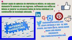 Agencia de Marketing en México  Agencia de marketing en México, organización que ofrece una variedad de servicios a los visionarios de negocios en Internet para ayudarles en el círculo de la promoción de Internet y cómo construir la actividad de su sitio. Marketing Predictivo, Para saber más, visítenos en www.burocreativo.com