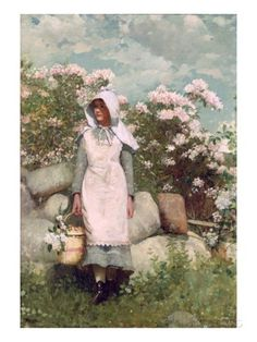 Girl and Laurel, 1879 Giclee Print by Winslow Homer at AllPosters.com