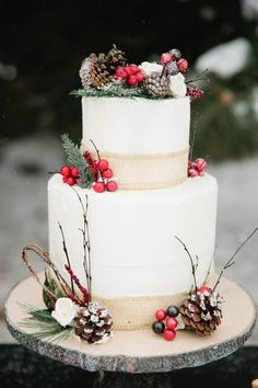 christmas wedding cakes pictures A Christmas Woodland Wedding Shoot Christmas Wedding Themes, Christmas Tree Decorations, Whimsical Christmas, Magical Christmas, Christmas Ornaments, Wedding Shoot, Dream Wedding, Wedding Ideas, Purple Wedding