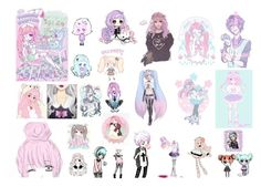 """""""Pastel Goth Anime"""" by makaylafayereeves ❤ liked on Polyvore featuring art"""