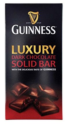 Guinness Luxury Dark Chocolate Solid Bar   Guinness Luxury Dark Chocolate Solid Bar Intense dark chocolate consisting of 52% cocoa solids using the finest cocoa beans. lightly flavoured with wonderfully complex notes of guinness to create a bitter sweet chocolate experience. The luxury confectionery range celebrates the perfect marriage of two exceptional brands: Guinness and Lir Chocolates. Renowned for over two centuries for its unique taste, Guinness, the world's most famous stout..