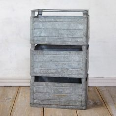 "A vintage find from our artifacts buyer, this antique milk crate was once used to make at-home milk deliveries in Belgium. Today, its galvanized iron construction makes it a durable choice for stacking, storage, and planting.- Galvanized iron- Wipe clean with dry cloth- Indoor use only- Vintage artifact; slight variance may occur- Belgium12""H, 15.75""W, 20""L, 11.2""D"