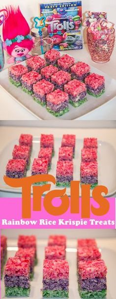This delicious Rainbow Rice Krispie Treats are so pretty and they are so delicious and are SO easy to make! These Rainbow Rice Krispie Treat require no baking and are perfect for all your Troll or Unicorn parties! Trolls Birthday Party, Troll Party, 6th Birthday Parties, Birthday Fun, Rainbow Birthday, Birthday Ideas, Rice Krispie Treats, Rice Krispies, Easy Birthday Desserts