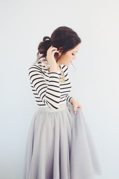 Black and white striped top, mauve lilac maxi skirt